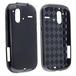 Black TPU Rubber Skin Case for HTC Amaze 4G