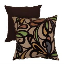 Floral Flocked 16.5-inch Square Toss Pillow