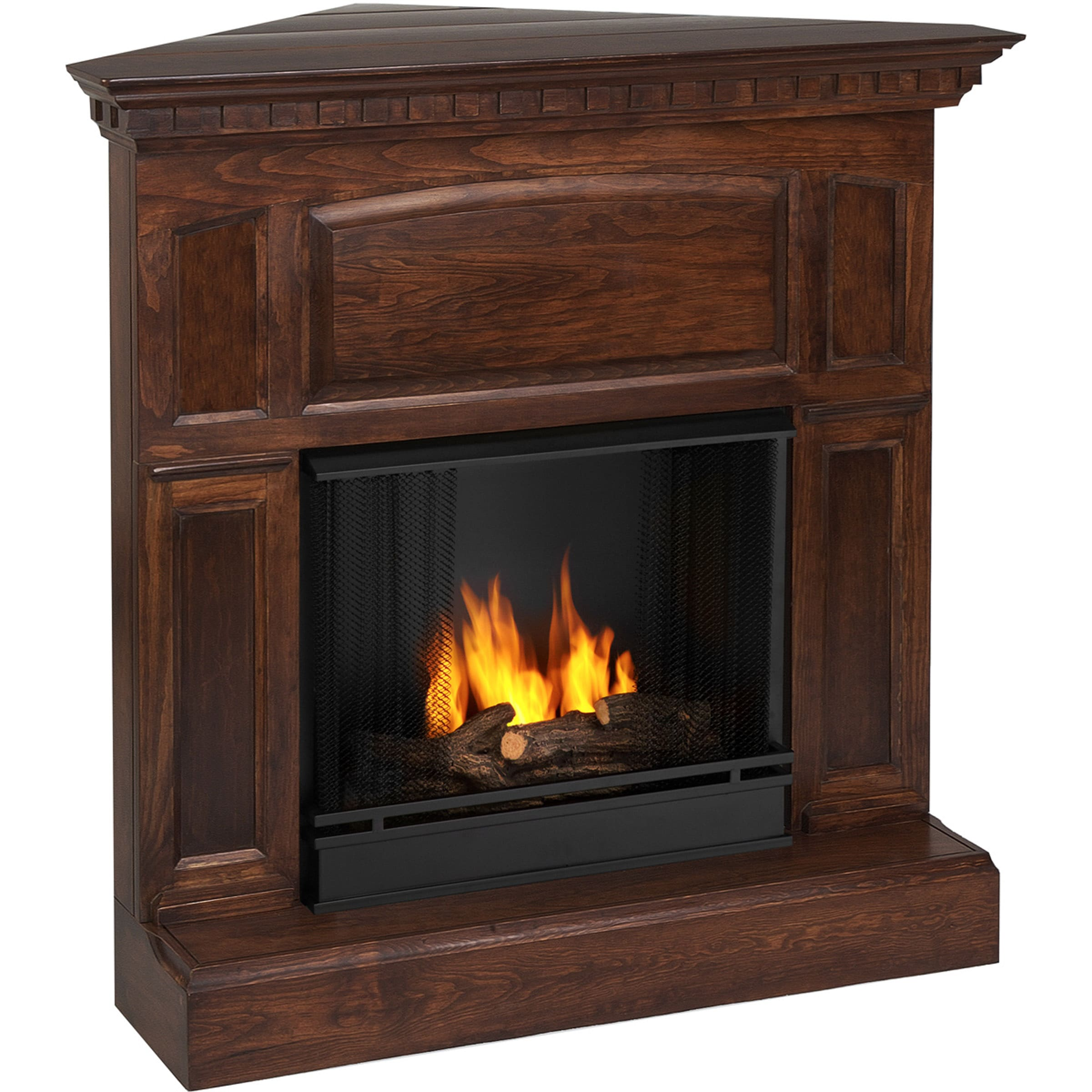 Real Flame Heritage Corner Gel Fuel Mahogany Fireplace