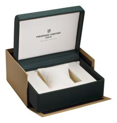 Frederique Constant Men's 'Art Deco' Brown Leather Strap Watch