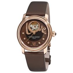 Frederique Constant Women's 'Automatic' Brown Love Heart Beat Watch