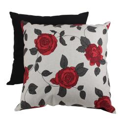 Pillow Perfect Decorative Red and Black Vine Leaf Pillow