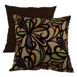 Pillow Perfect Decorative Brown and Orange Contemporary Floral Flocked Pillow
