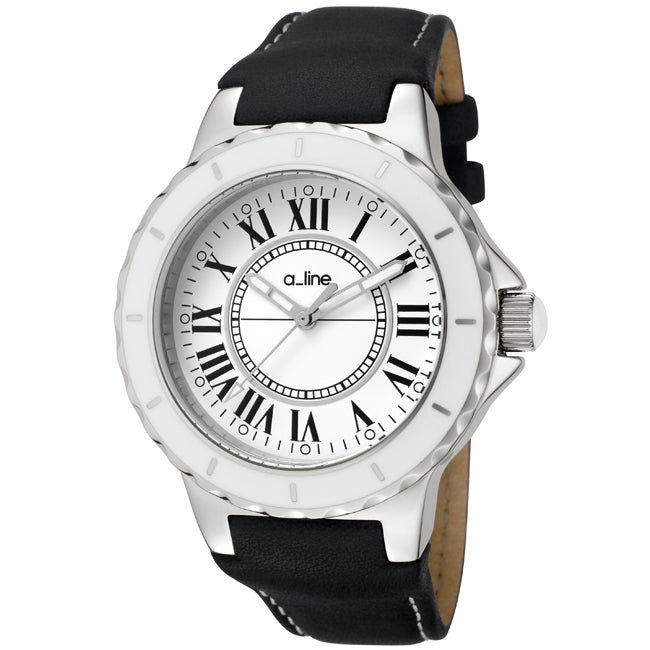 a_line Women's 'Marina' Black Leather Watch