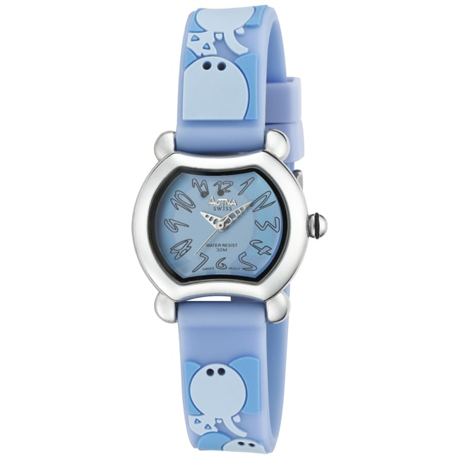 Activa Juniors Baby Blue Rubber With Multicolor Elephant Design Watch