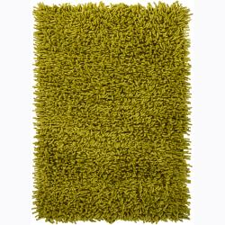 Handwoven Three-Inch Lime-Green Mandara New Zealand Wool Shag Rug (9' x 13')