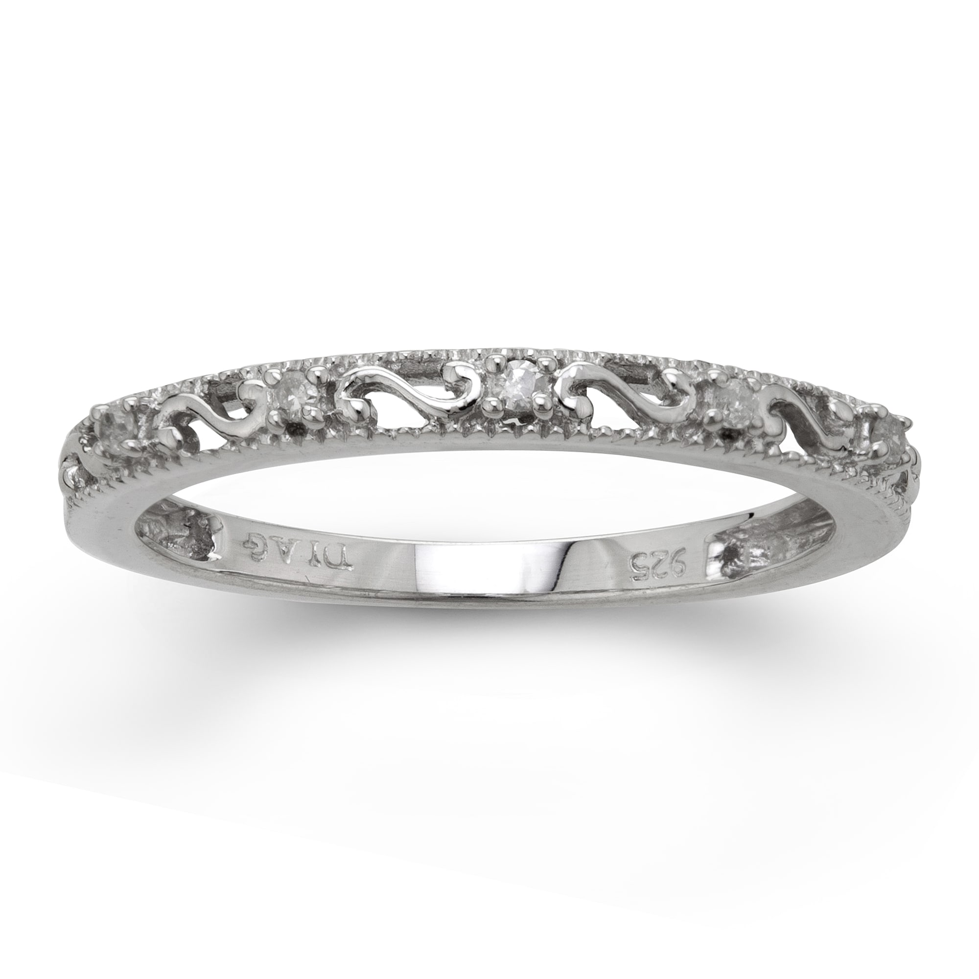 Sterling Silver Diamond Accent Stackable Ring (Size 7)