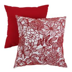 Pillow Perfect Red Floral Flocked Throw Pillow