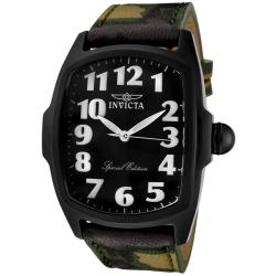 Invicta Men's 'Lupah' Green Camouflage Genuine Leather Watch