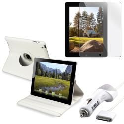 White Leather Case/ Screen Protector/ Charger for Apple iPad 2
