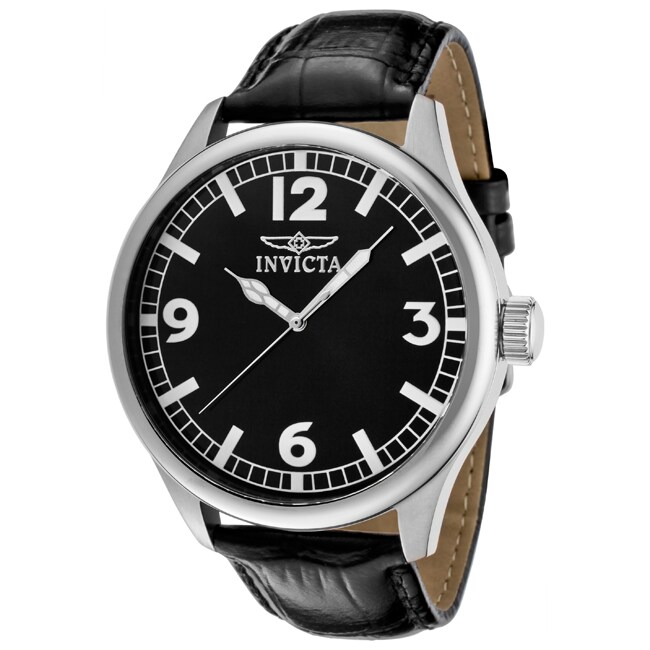 Invicta Men's 'Specialty' Black Leather Watch
