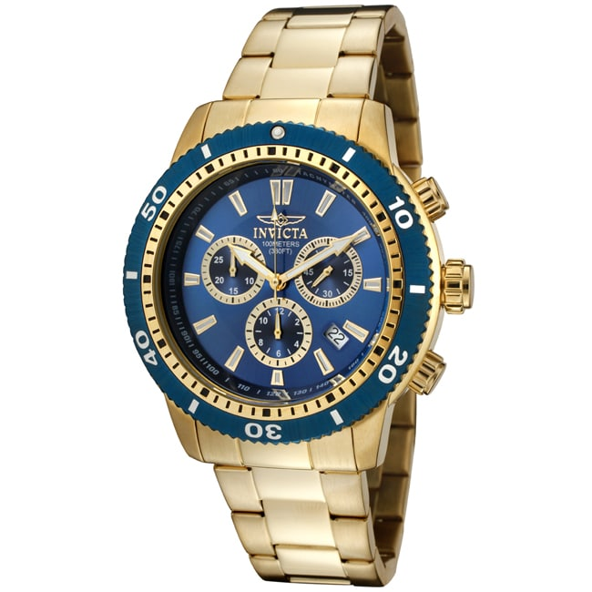 Invicta Men's 'Specialty' 18k Goldplated Stainless Steel Watch