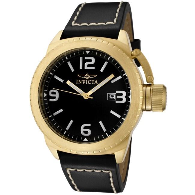 Invicta Men's 'Corduba' Black Leather Watch