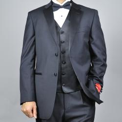 Mantoni Men's Black 2-button Vested Wool Tuxedo