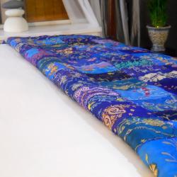 Fair Trade Vintage Bright Blue Sari Patch Throw (India)