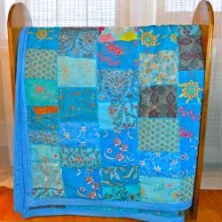 Fair Trade Vintage Turquoise Sari Patch Throw (India)