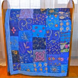 Fair Trade Vintage Bright Blue Sari Patch Throw (India)