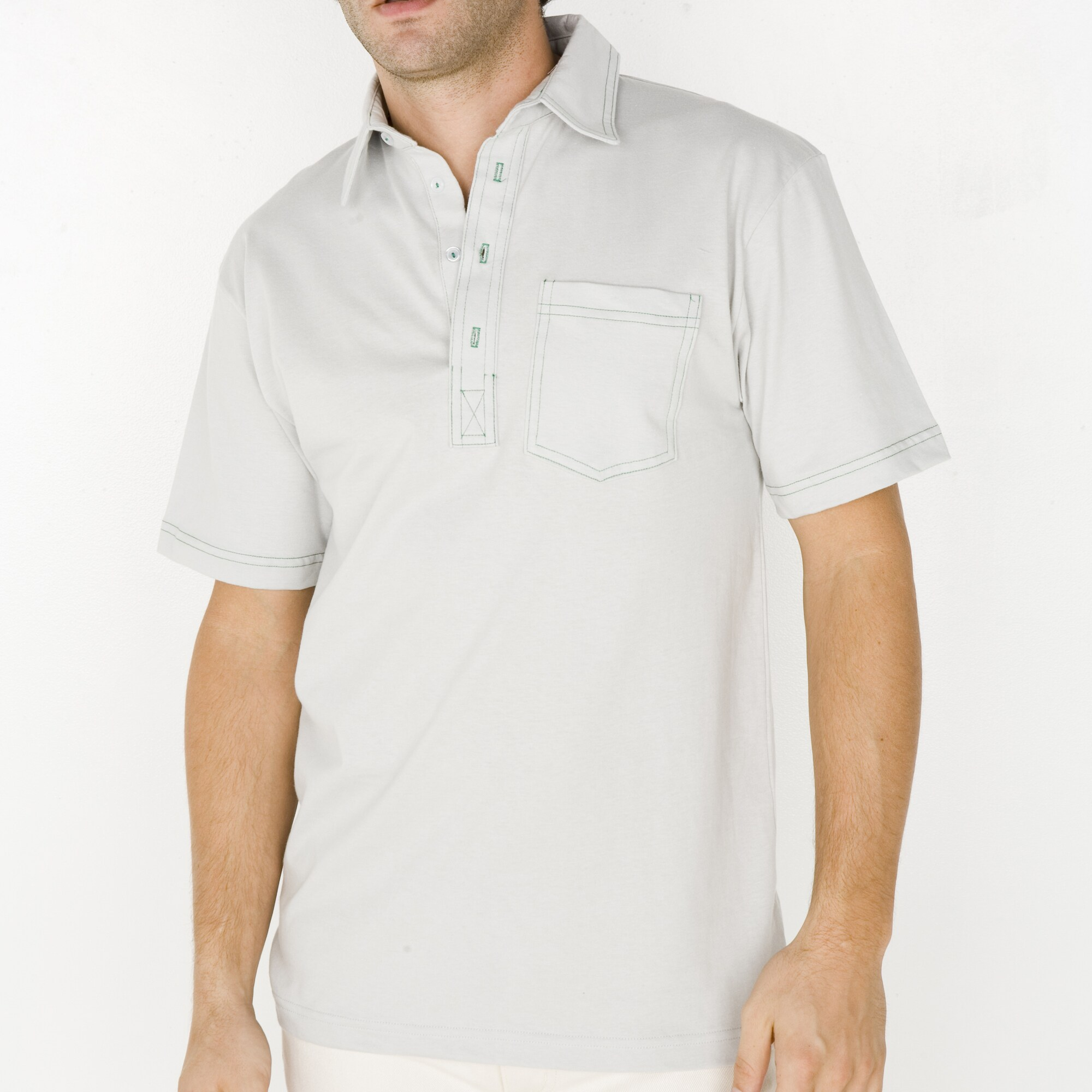 American Apparel Men's Silver/ Kelly Green Fine Jersey Leisure Shirt (2XS)
