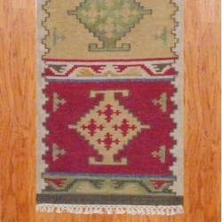 Indo Hand-knotted Kilim Ivory/ Green Wool Rug (2'6 x 10)
