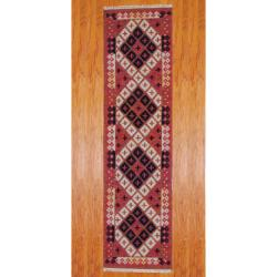 Indo Hand-knotted Kilim Rust/ Black Wool Rug (2&#39;6 x 10)