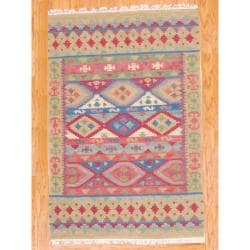 Indo Hand-knotted Kilim Blue and Red Wool Rug (4 x 6)