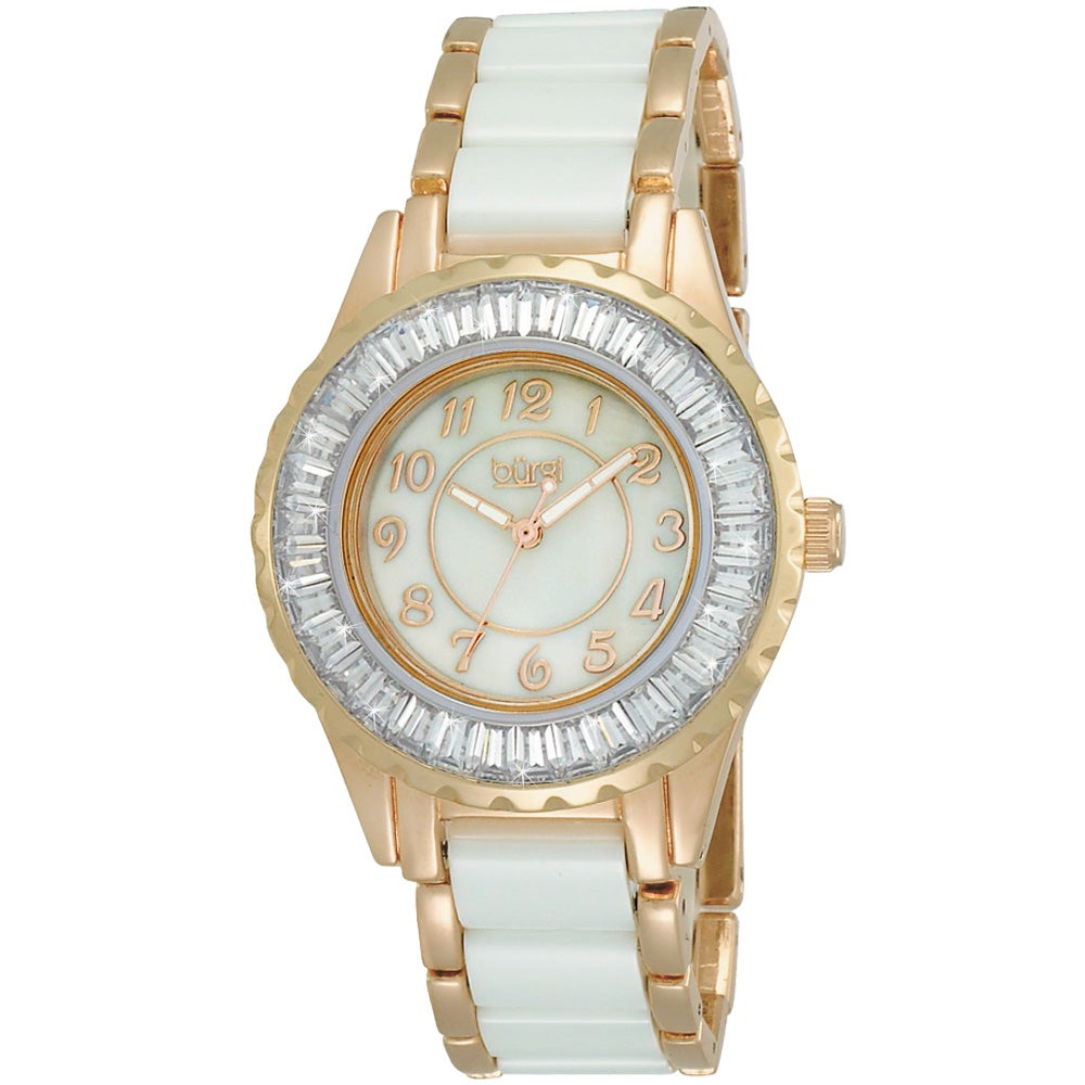 Overstock.com Burgi Women's Ceramic Bracelet Baguette Quartz Watch at Sears.com