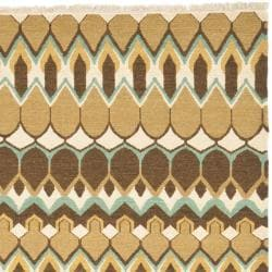 Sumak Flatweave Heirloom Beige and Brown Wool Rug (8 x 10)