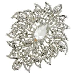 Cano Silverton Cubic Zirconia and Crystal Brooch