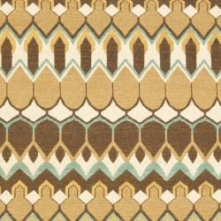 Sumak Flatweave Heirloom Beige/Brown Wool Rug (4 x 6)