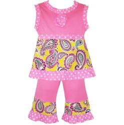 AnnLoren Girls Pink Paisley and Polka Dots Capri and Tank Set
