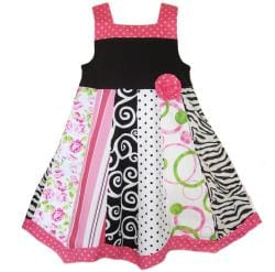 AnnLoren Girls Floral and Zebra Dress