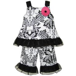 AnnLoren Girl&#39;s 2-piece Damask Shirt and Capri Set
