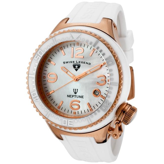 Swiss Legend Unisex 'Neptune Ceramic' White Silicon Watch