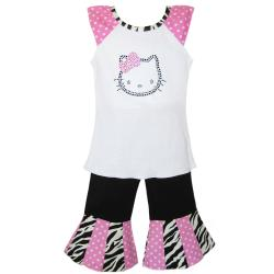 AnnLoren Girl's 2-piece Hello Kitty Shirt and Capri Set
