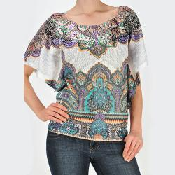 Tabeez Women&#39;s Bali Print Short Sleeve Sweater