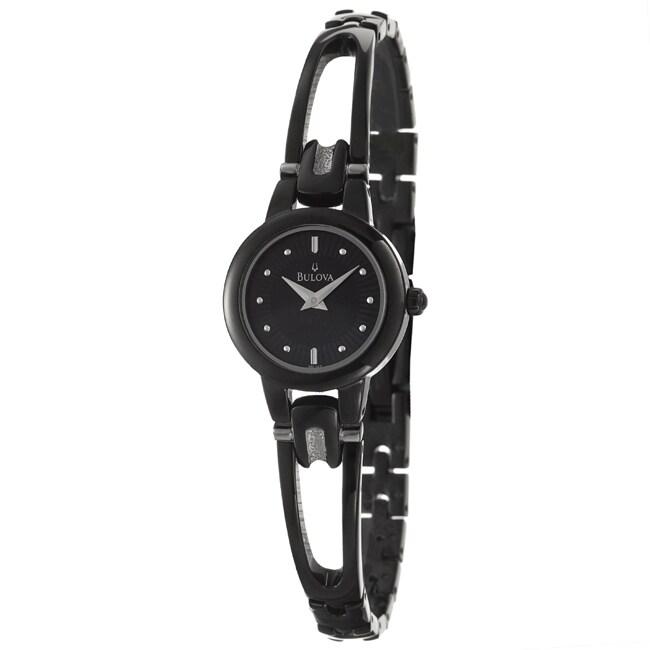Bulova Women's 'Bracelet' Black Stainless Steel Quartz Watch