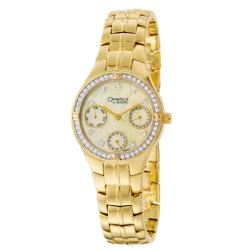 Caravelle by Bulova Women's 'Crystal' Yellow Goldplated Stainless Steel Military Time Quartz Watch