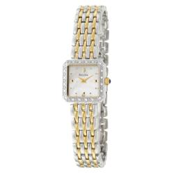 Bulova Women's 'Diamonds' Stainless and Yellow Goldplated Steel Quartz Watch