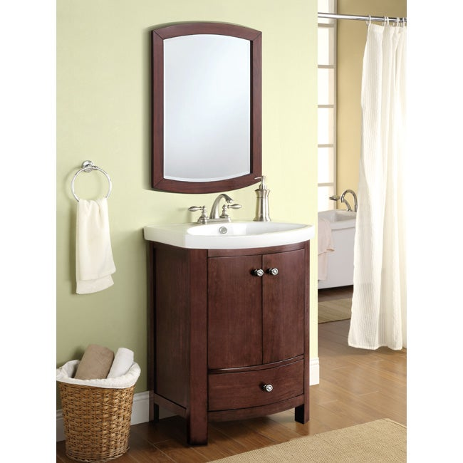 Winston Walnut Sink and Mirror Vanity Set  14044445  Overstock.com