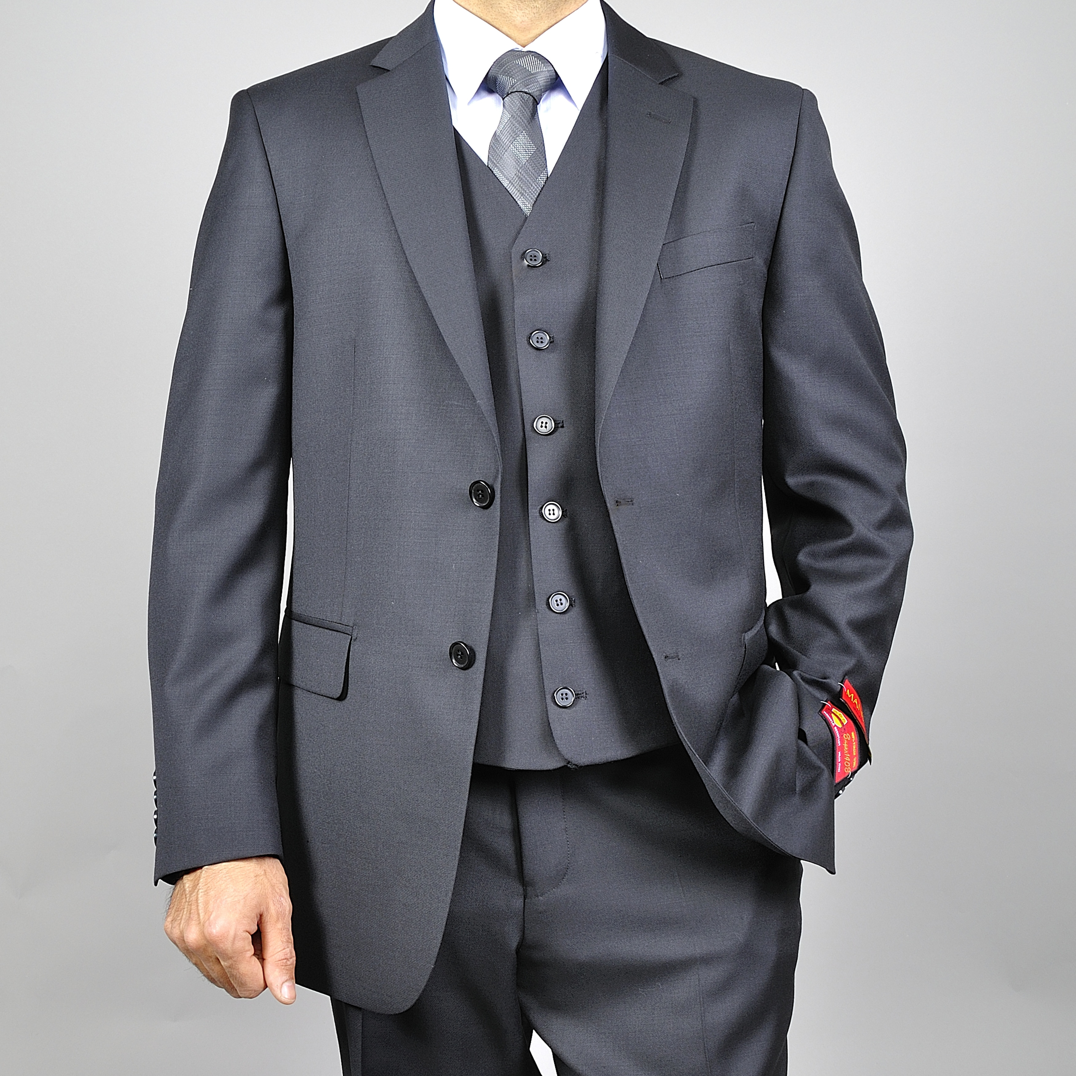 Oliver & James Mantoni Men's Black Vested Wool Suit at mygofer.com