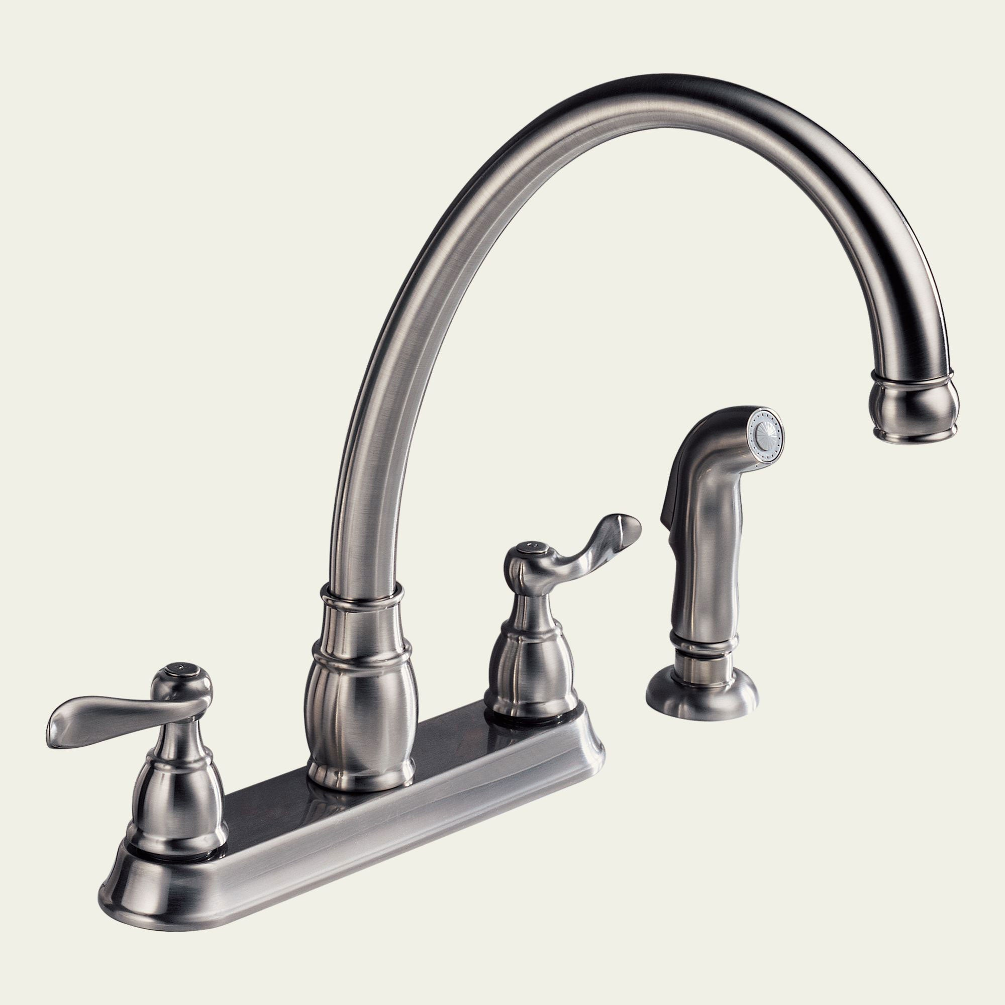peerless lead free 2 handle chrome kitchen faucet and side