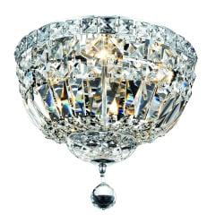 Chrome Four-light Flush Mount Fixture