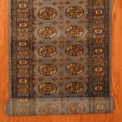 Pakistani Hand-knotted Grey/ Ivory Bokhara Wool Runner (2'7 x 16')