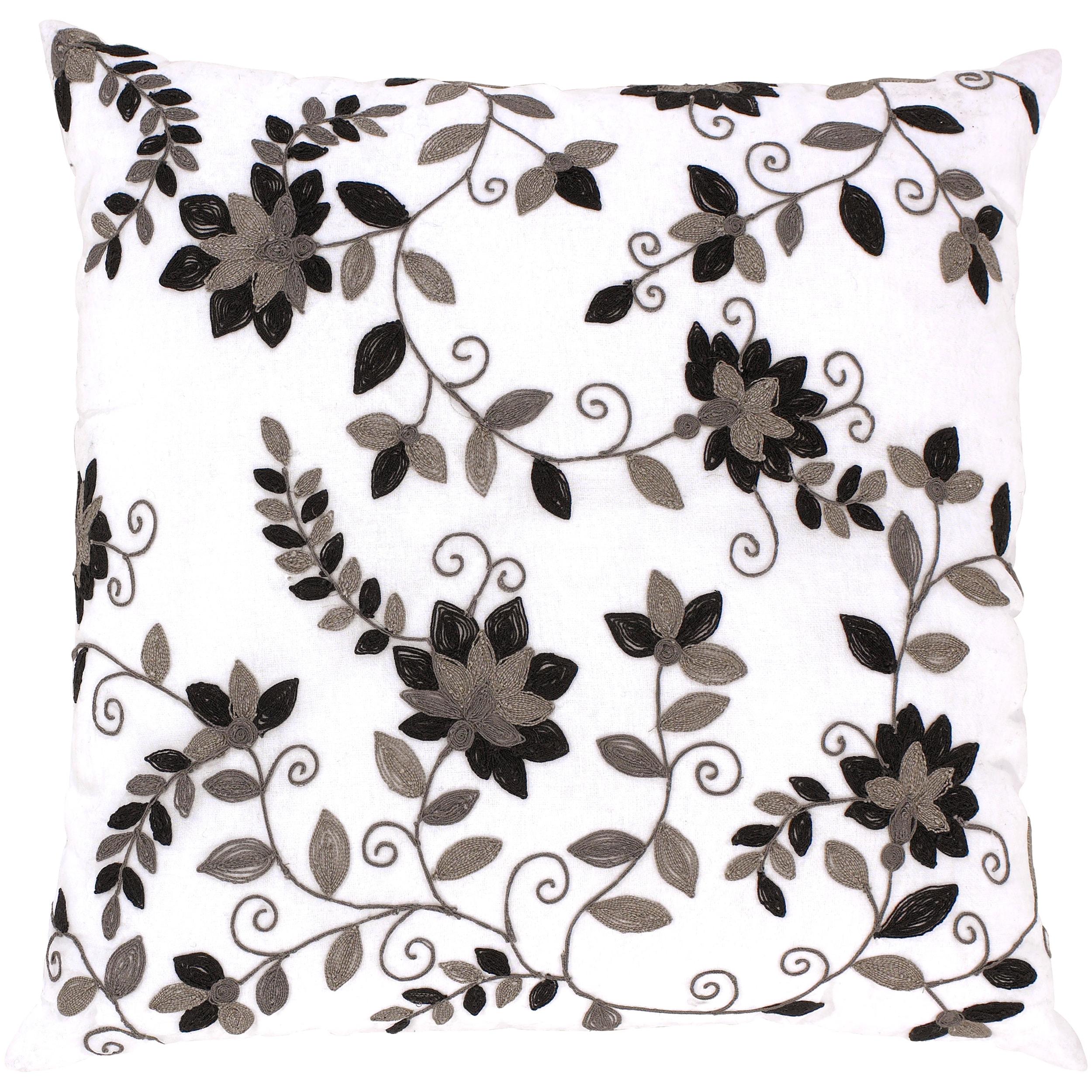 Bellinzona White/ Black Floral Decorative Pillow