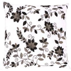 Bellinzona White/ Black Floral Decorative Pillow