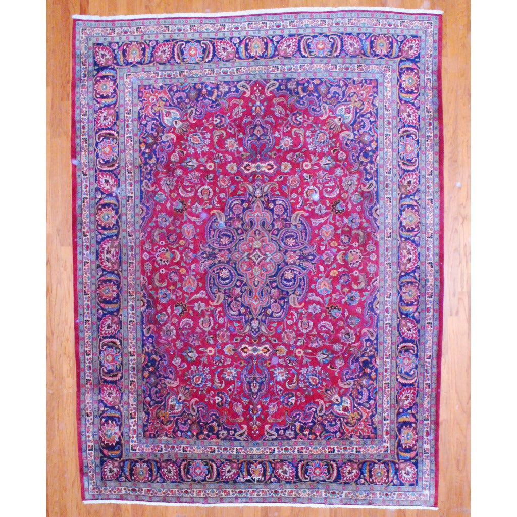 Persian Hand-knotted Mashad Red/ Navy Wool Rug (9'8 x 12'9)