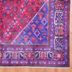 Persian Hand-knotted Josheghan Red/ Navy Wool Rug (9'7 x 13'2)