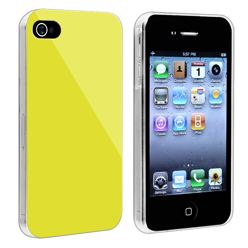 Yellow with Clear Side Snap-on Case for Apple iPhone 4/ 4S