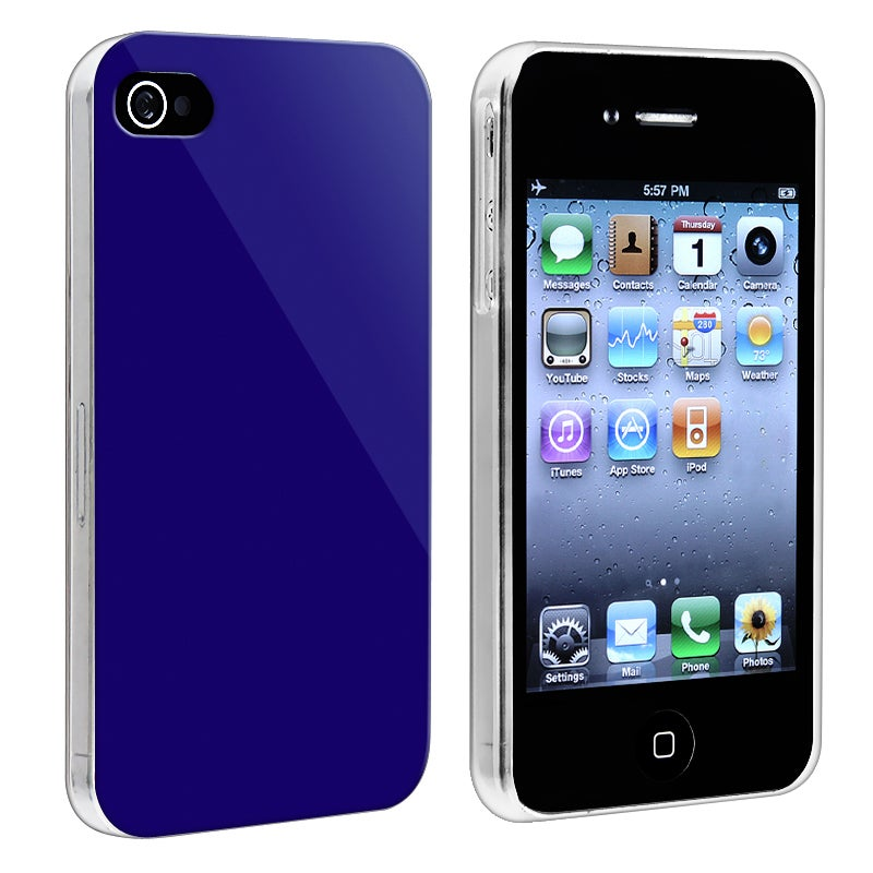 Dark Blue with Clear Side Snap-on Case for Apple iPhone 4/ 4S