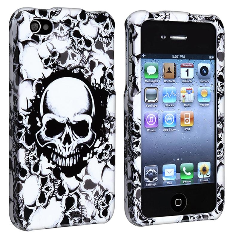 White Skull Snap-on Case for Apple iPhone 4/ 4S